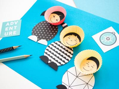 A fun activity for cloudy winter days: Making cute Eskimos from muffin paper cups!